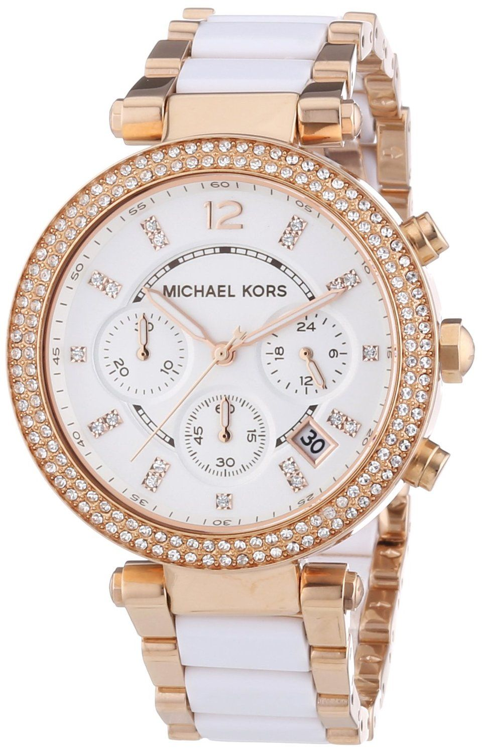 Michael Kors Watches Parker Watch (White/Rose Gold) Michael Kors Mid-Size  White Acetate and Rose Gold Tone Stainless Steel Parker Chronograph Glitz  Watch