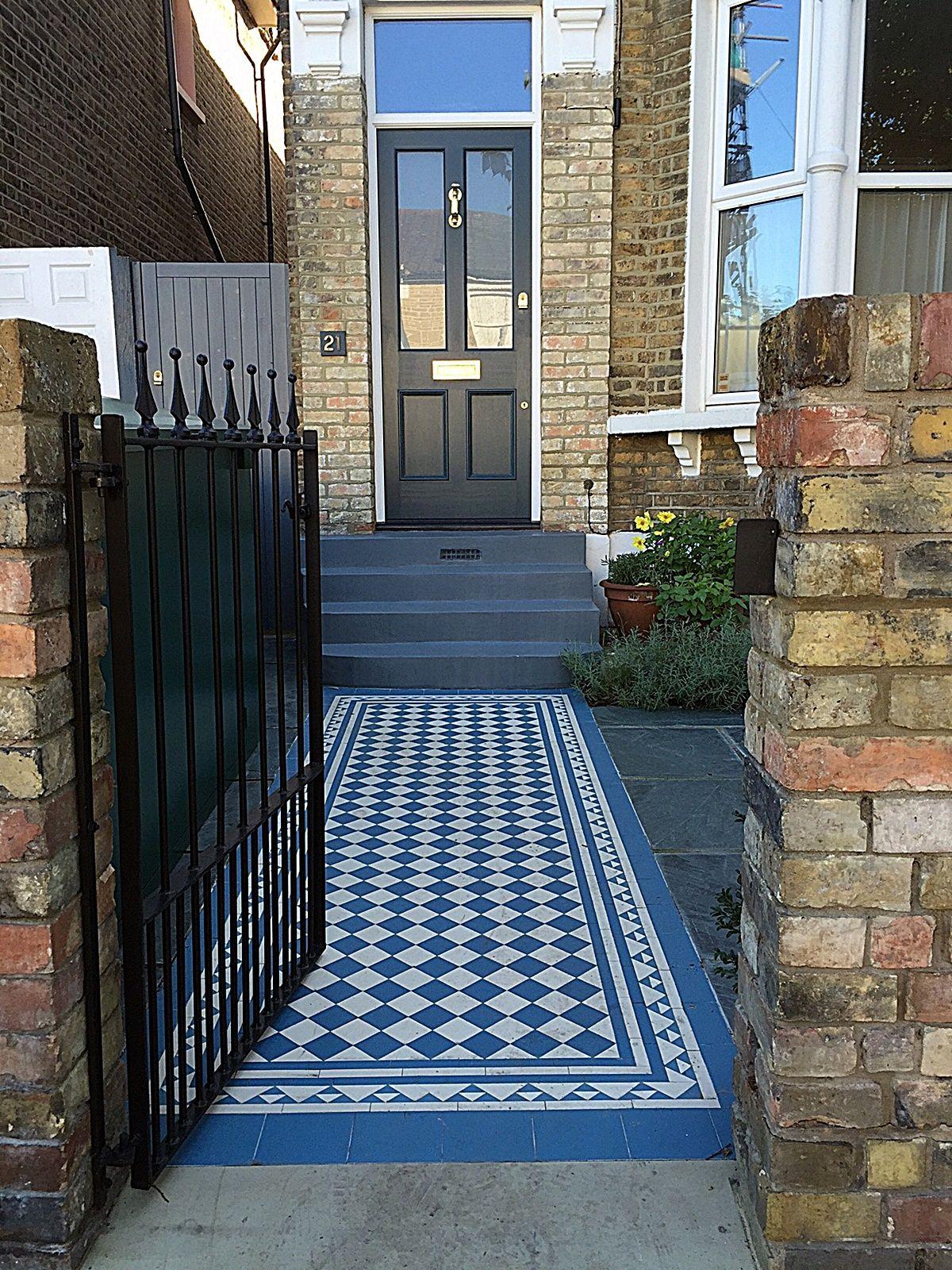 Wrought Victorian mosaic brick garden wall metal gate Balham Clapham ...