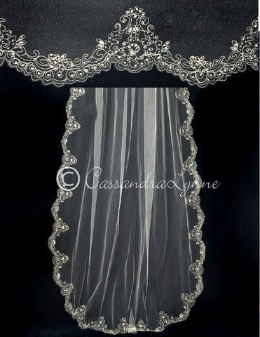 Embroidered Cathedral Veil With Pearls And Marquise Rhinestones