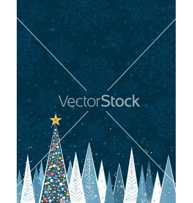 Christmas forest in the night vector by sunnyfrog on VectorStock®