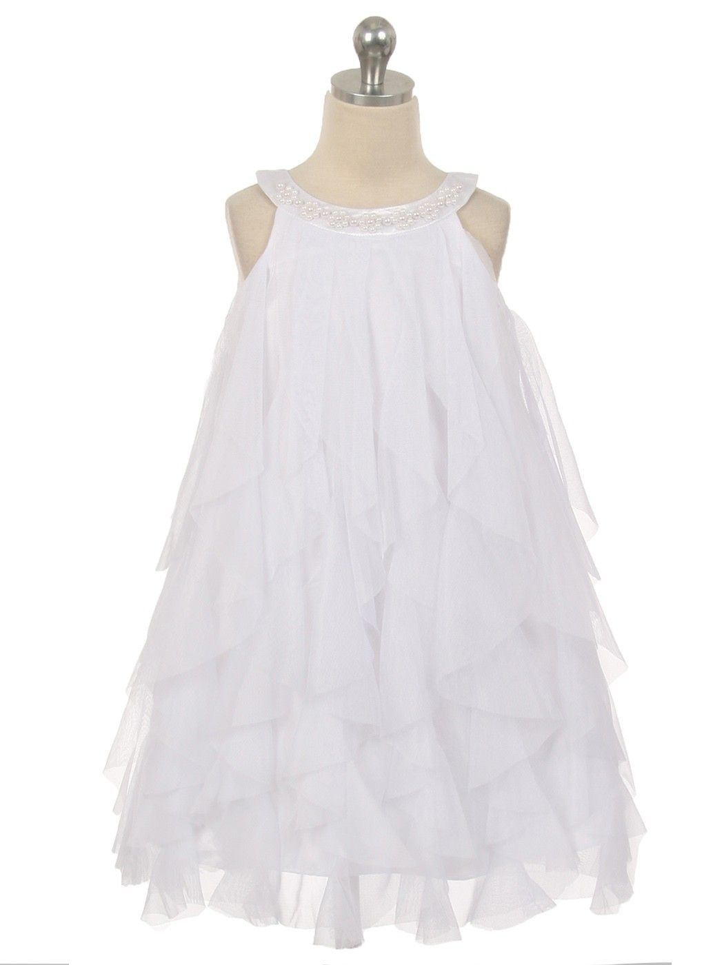 White mesh multi layered flower girl dress available in sizes