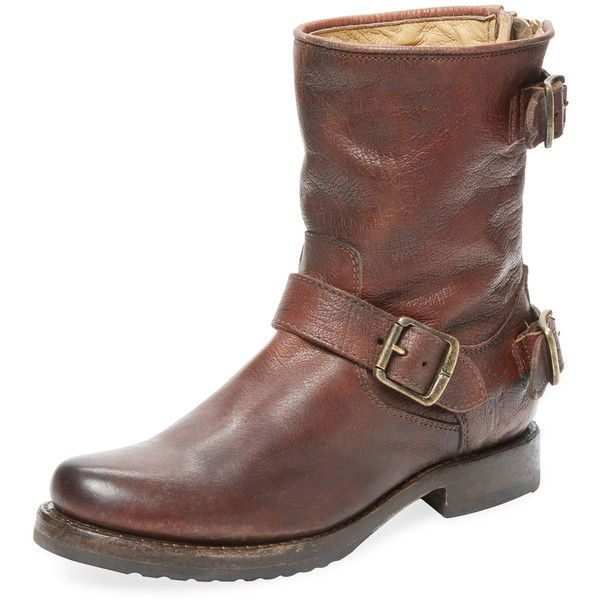 Frye Veronica Buckle Bootie ($179) ❤ liked on Polyvore featuring shoes, boots, ankle booties, dark brown, frye booties, buckle booties, leather booties, dark brown booties and short heel boots
