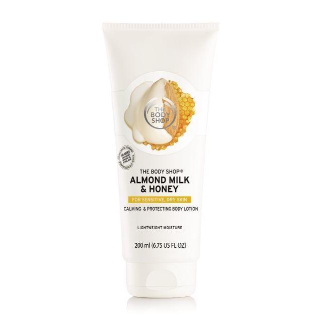 The Body Shop's almond milk & honey hand cream and body