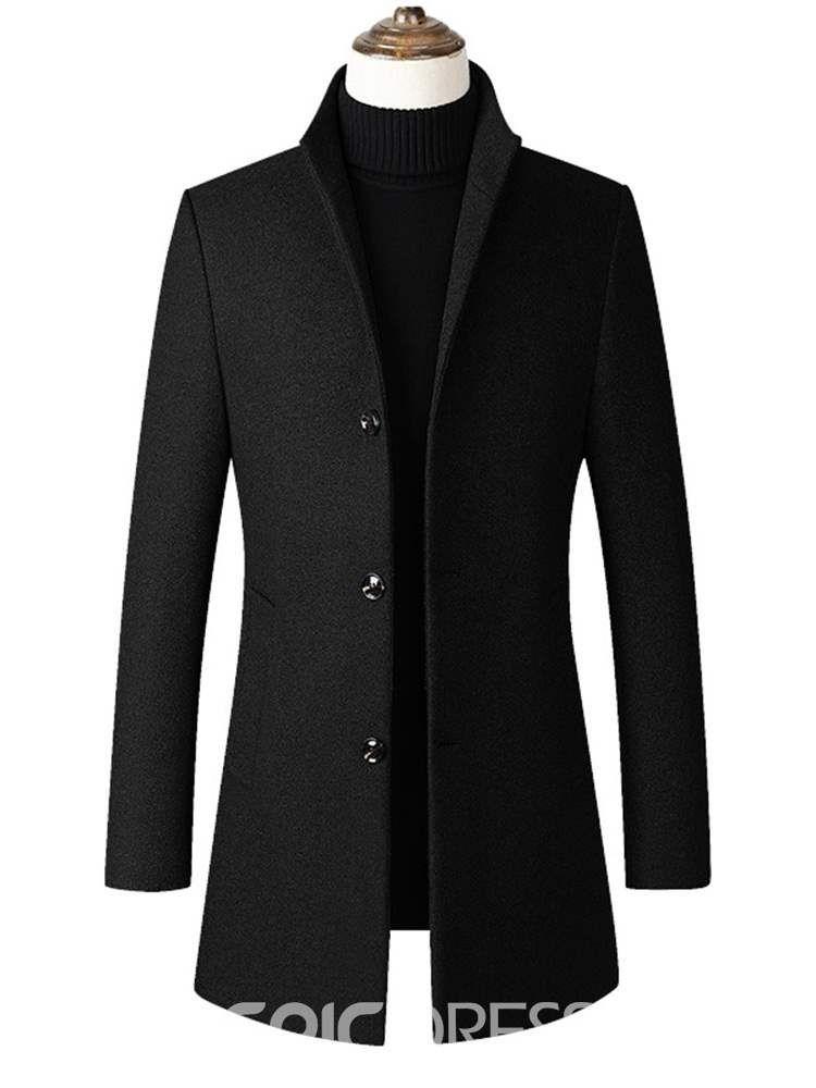 c2290b701b Ericdress Plain Stand Collar Mid-Length Mens Slim Wool Coat | My ...