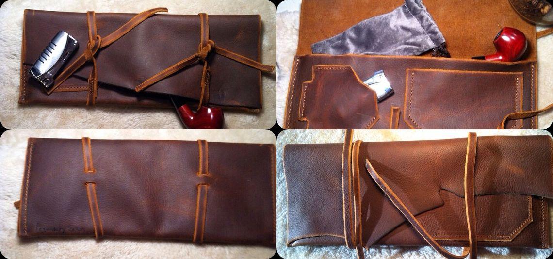 Legendary Saxon Premium Leather Churchwarden Tobacco Pipe Pouch 5 X ...