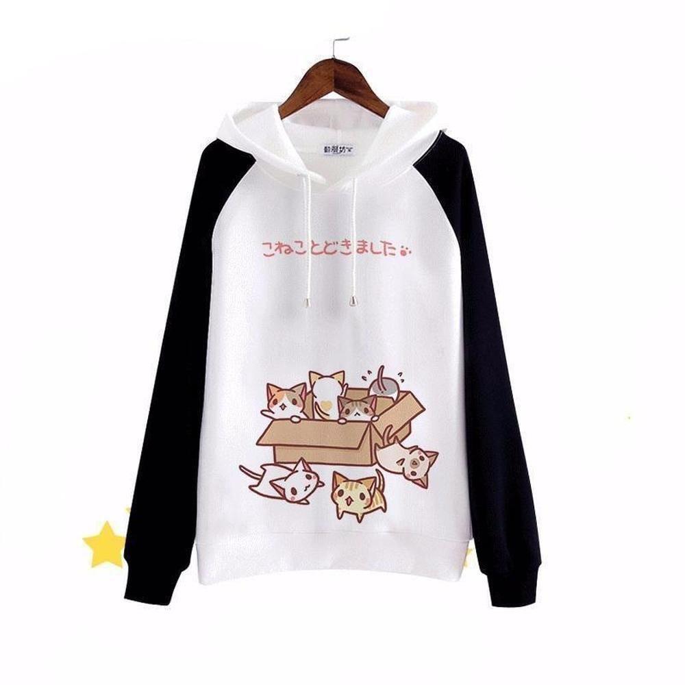 Anime Neko Atsume Cat Backyard Warm Cloak Cute Sweater Hooded Coat Capes Top
