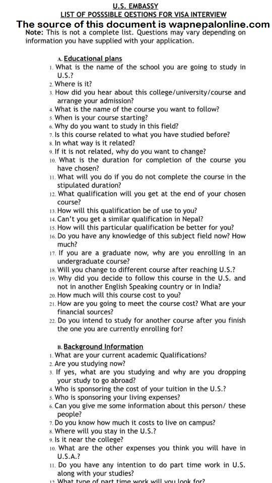 Usa Visa Interview Questions Sample Questions | Wapnepal Online