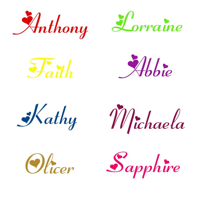 Jjrui Personalised Girls Any Name With Hearts Wall Art Sticker Decal Nursery Bedroom Wall Stickers For Kids Rooms Size S M Slaapkamer Muurstickers Muurstickers Stickers