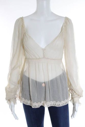 ELIE-TAHARI-Beige-Silk-Lace-Trim-Long-Sleeve-Peasant-Sheer-Blouse-Sz-M-BN926
