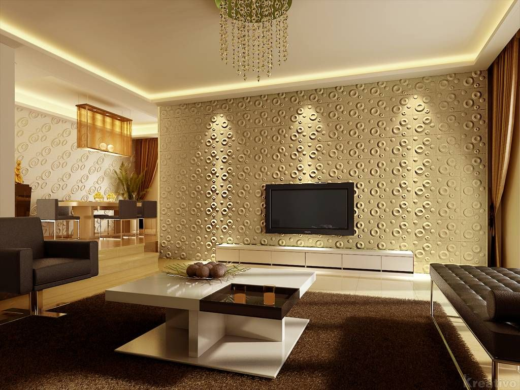 Tv Room With 3d Wallpaper Design Brown Carpet Plus Lighting From Ceiling As Decoration Cool