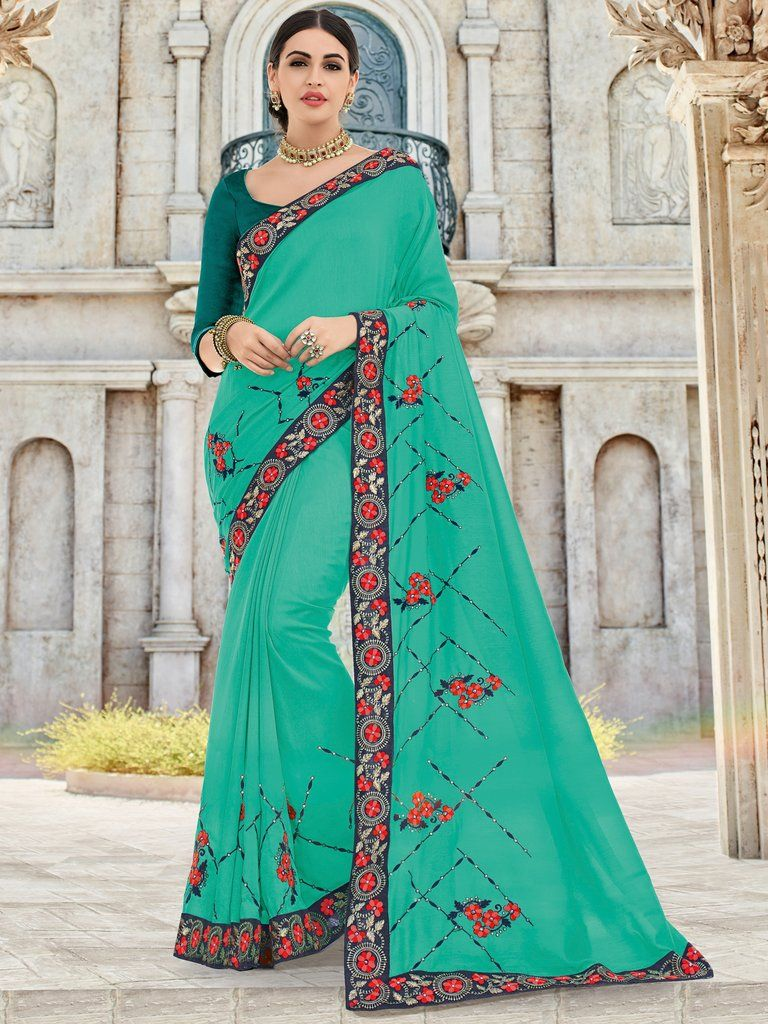 0fe1d40905a Turquoise Embroidered Saree with Unstitched Blouse in 2019