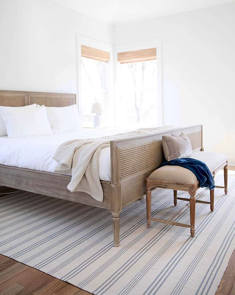 Rug Placement Tips Annie Selke Home bedroom, Cane bed