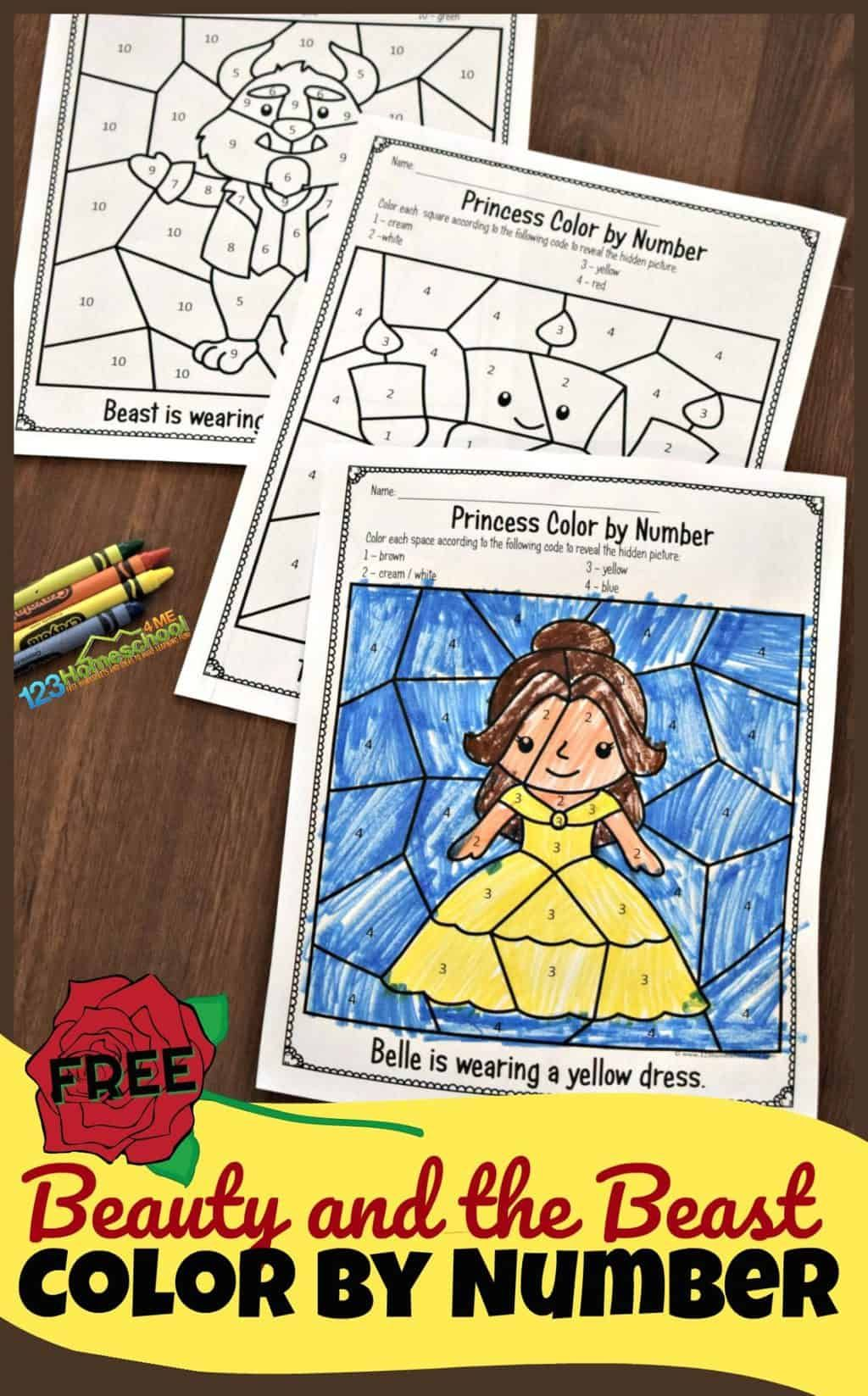 FREE Beauty and the Beast Color by Number Worksheets ...
