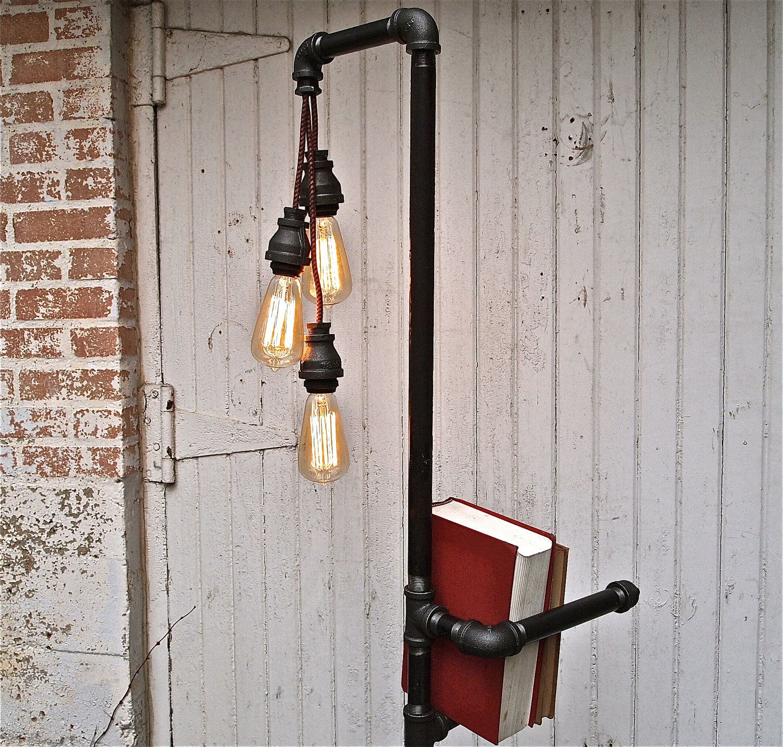 Diy industrial pipe floor lamp industrialpipefurniture for Homemade pipe ideas