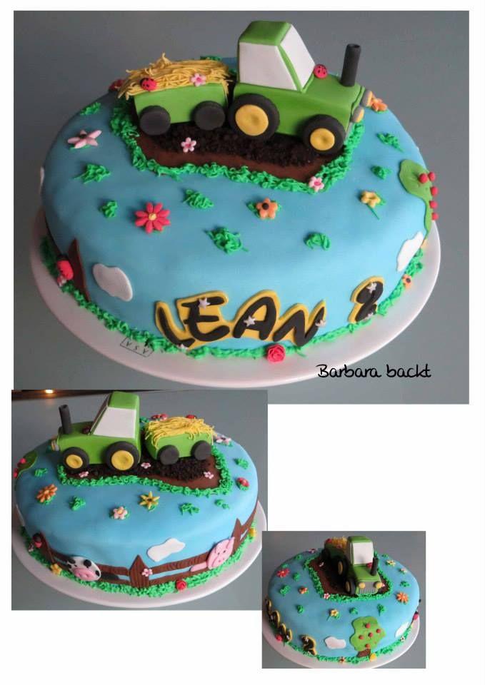 Traktor Torte Zu Einem 2 Geburtstag Torte Kindergeburtstag Kuchen Kindergeburtstag Traktor Torte