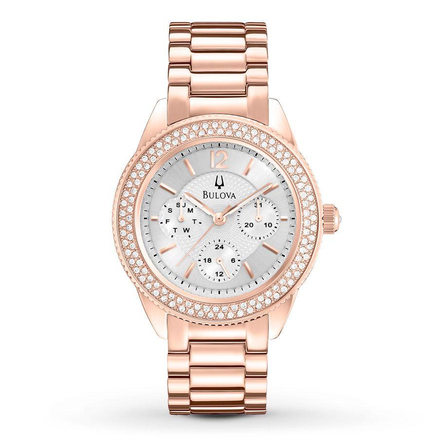 8bd540e50b0c Rose gold Swarovski watch Bulova