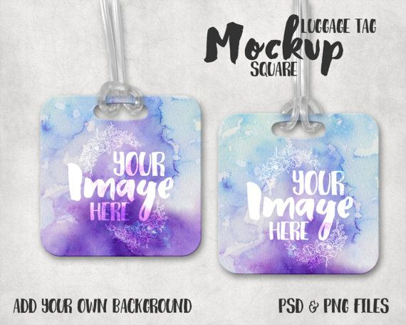 Square Luggage Tag Mockup Template | Bag Tag Template | Briefcase