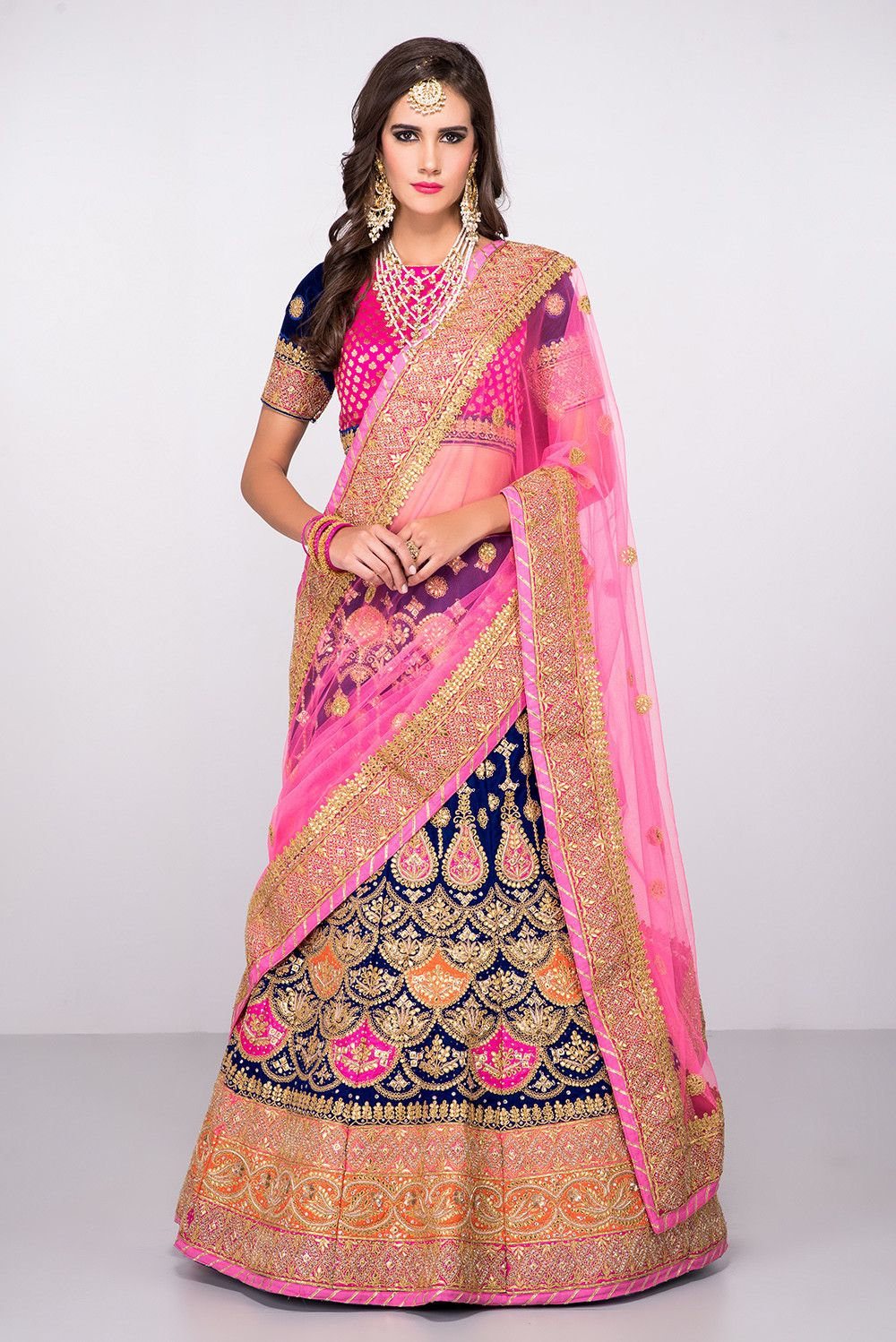 Rent THE STYLE LOFT BY RITU DEORA - Pink And Blue Gota Work Lehenga ...