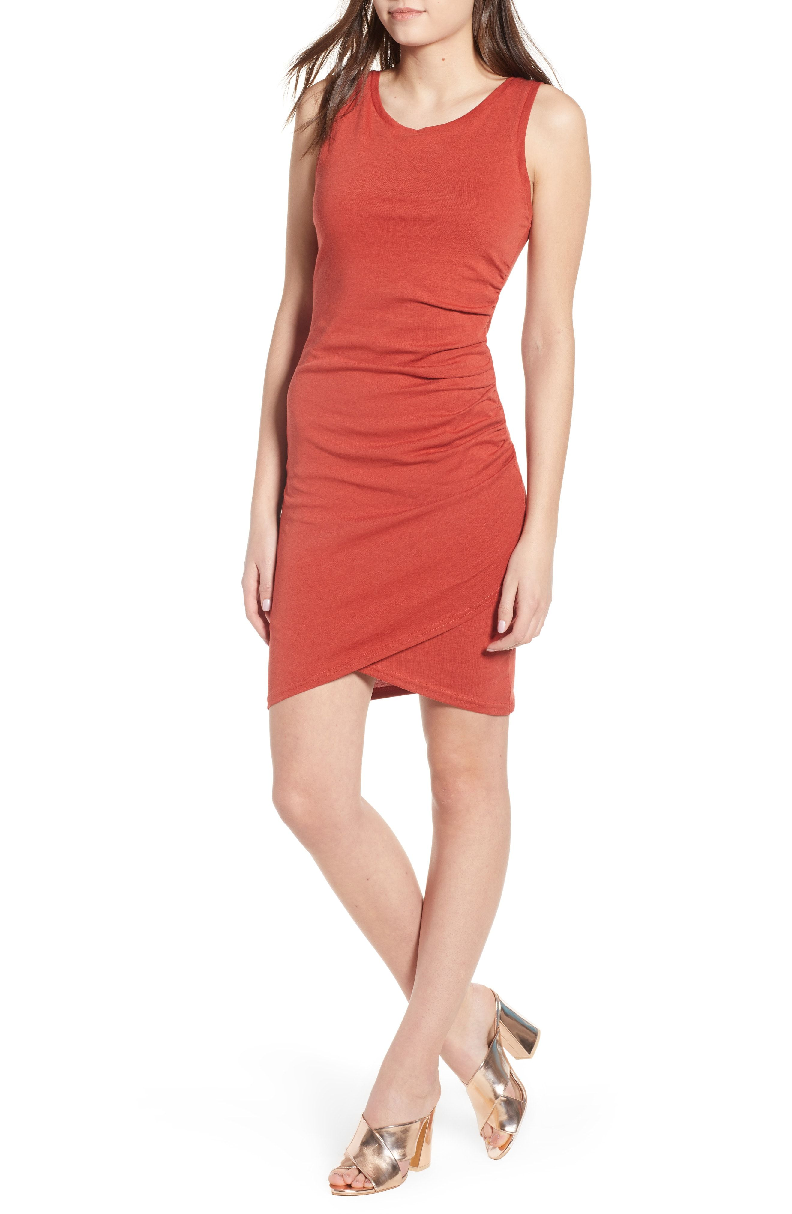 Leith ruched bodycon tank dress womens outfit ideas in