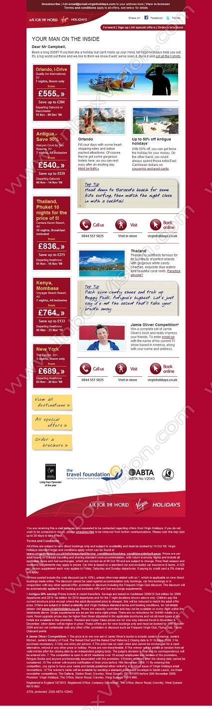 Company Virgin Holidays Ltd Subject Your Monthly Newsletter