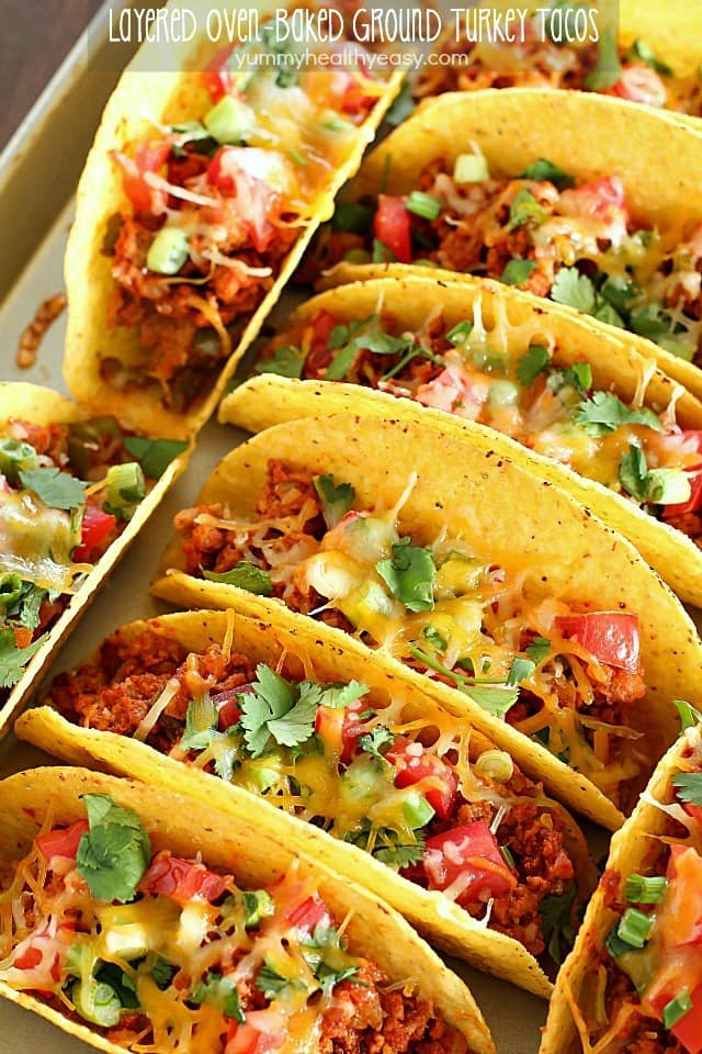 Layered Oven-Baked Ground Turkey Tacos