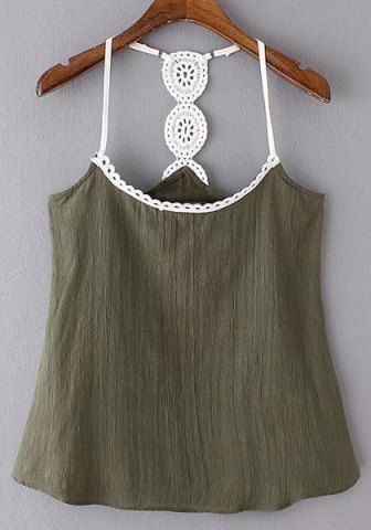 86f25db2d896bd Stylish Scoop Collar Lace Spliced Hollow Out Tank Top For Women Vests   Tank  Tops