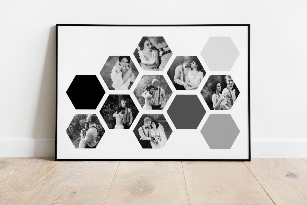 FRAMED PHOTO COLLAGE Up to 10 Picture Collage Shaped like a   Etsy