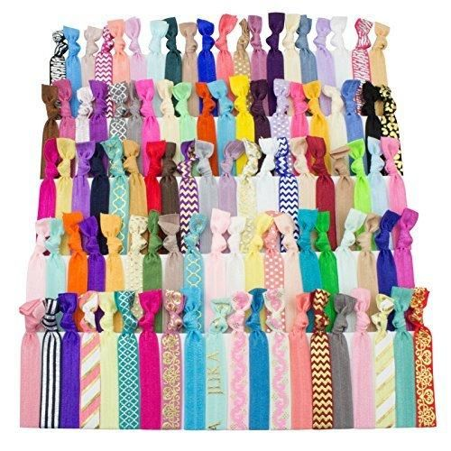 JLIKA Elastic Hair Ties (SET OF 100) Colorful Prints and Solids No Crease Ouchless Ponytail Holders Ribbon Hairties for Women Girls Teens and Kids
