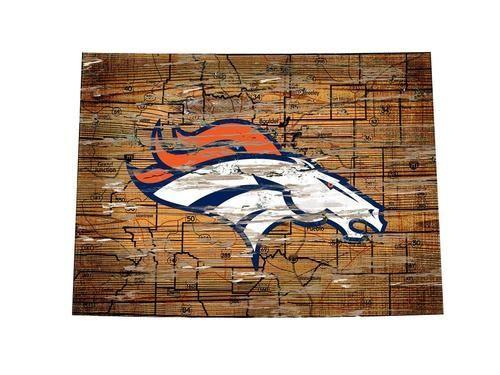 Denver Broncos Wall Decor denver broncos wall art vintage state map logo sign | wall signs