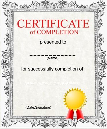 Free Printable Certificate Of Completion Template Thematizing  Blank Certificates Of Completion