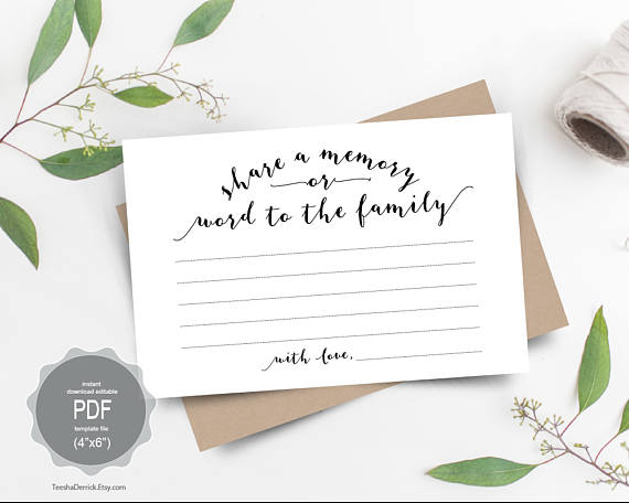 Share A Memory Card Instant Download Editable Pdf Template Memorial Cards For Funeral Memory Cards Card Template
