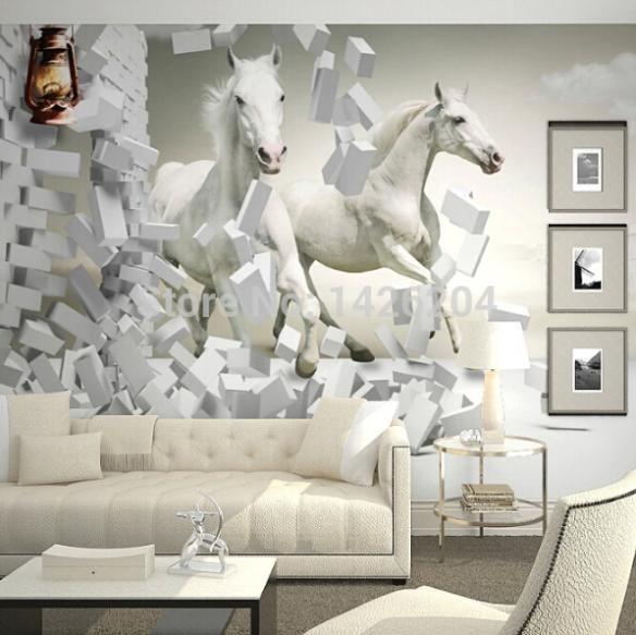 Barato 3d white horse murais de parede papel de parede for Papel de pared barato