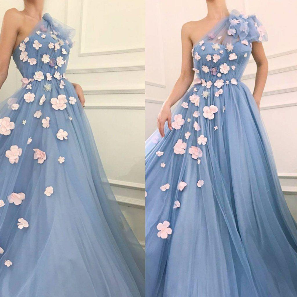 One shoulder tulle prom dress charming aline applique prom dress