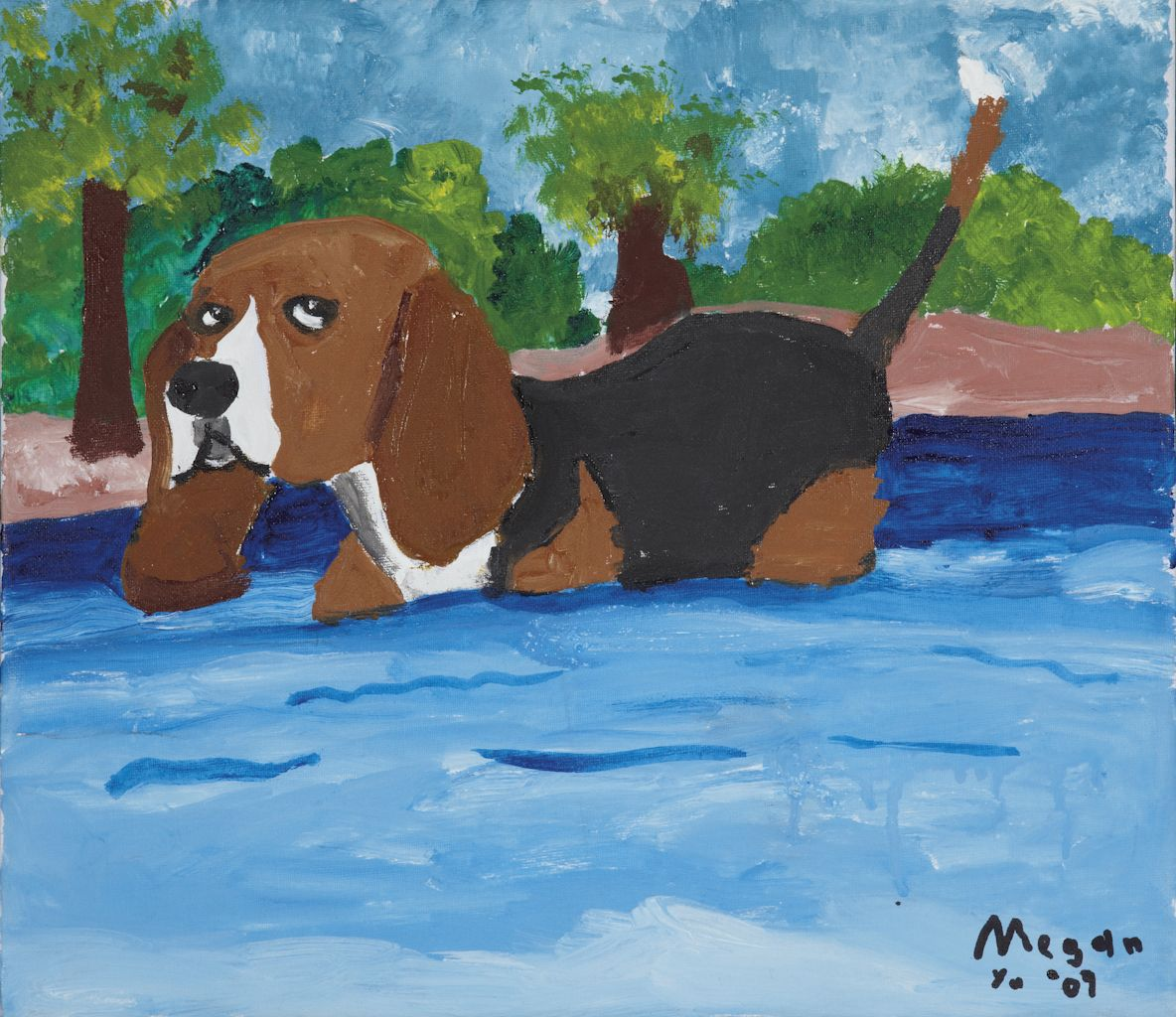 Puppy Swimming In The River By Megan Louise Yu San Juan Philippines Painting Dog Art Dog Show Different Dogs