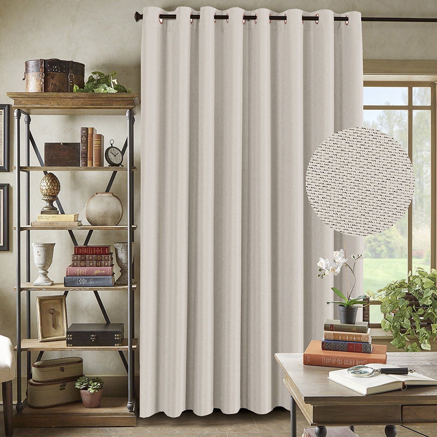 Amazon Com H Versailtex Wide Blackout Room Darkening Rich Quality Of Textured Linen Patio Door Cur Living Room Patio Doors Large Curtains Curtains Living Room
