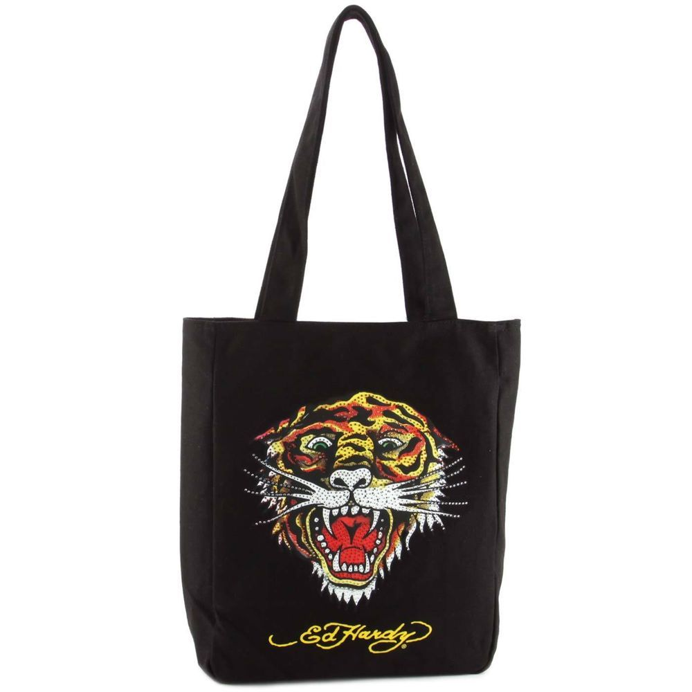 "NWT WOMEN'S ED HARDY NESS ""TIGER"" TOTE BAG BLACK STY#1C301TIG MSRP:$50.00 #EdHardy #TotesShoppers"