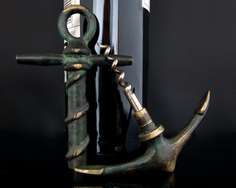 Large Brass Anchor Wine Opener Corkscrew Brass Pull Cork Lifter Brass Corkscrew Brass Pulls Wine Opener