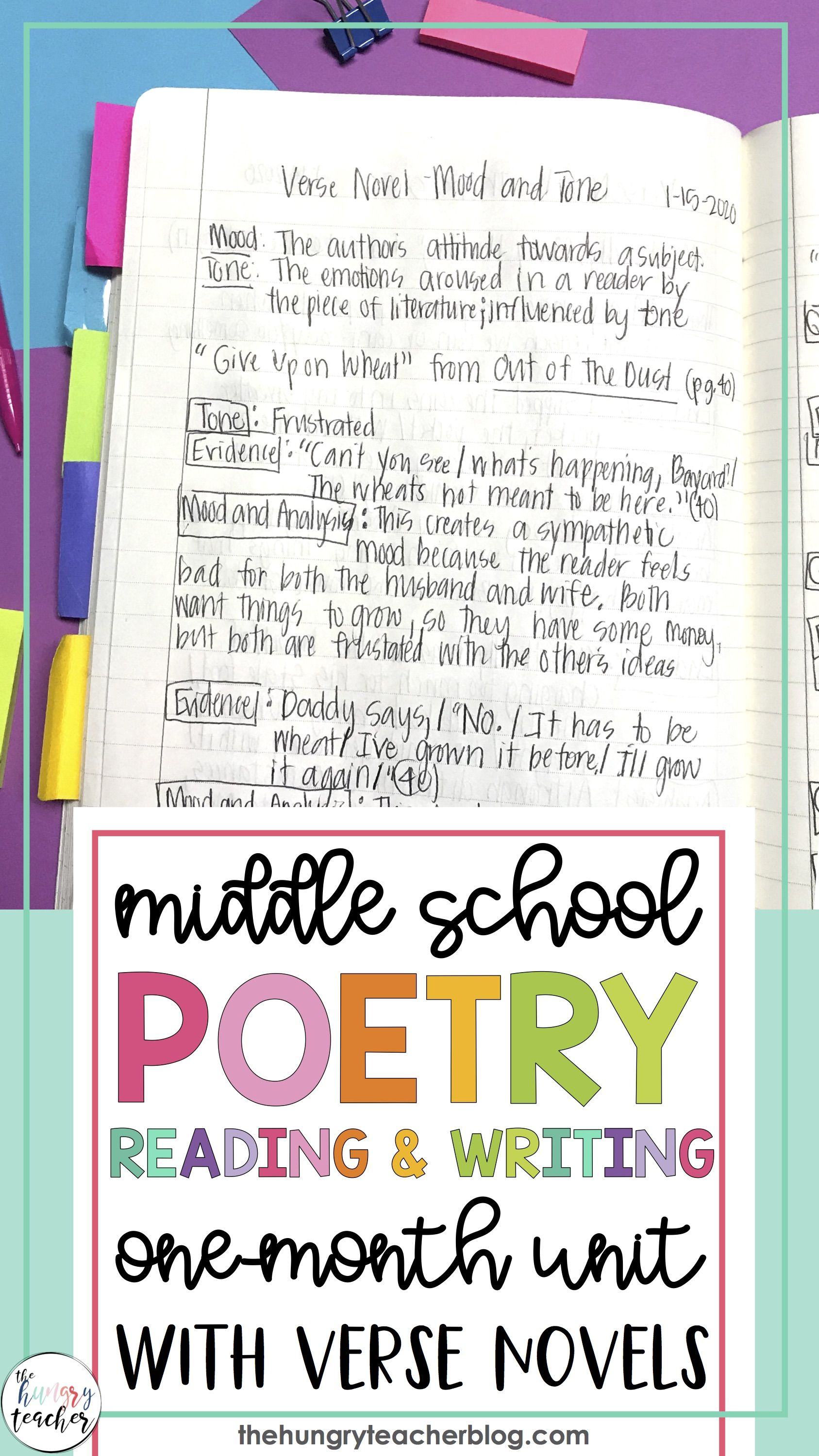 Middle School Poetry Unit Verse Novel Book Clubs Reading