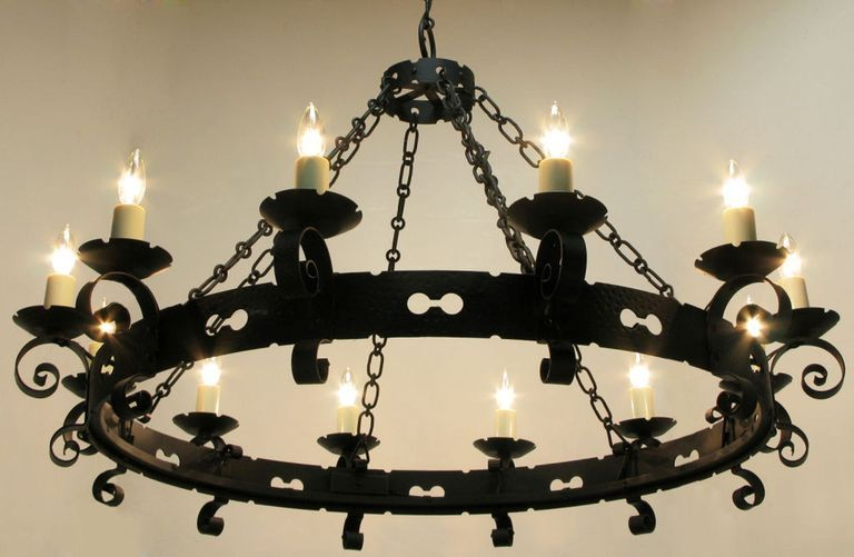 Lightolier Large Spanish Revival Wrought Iron Chandelier