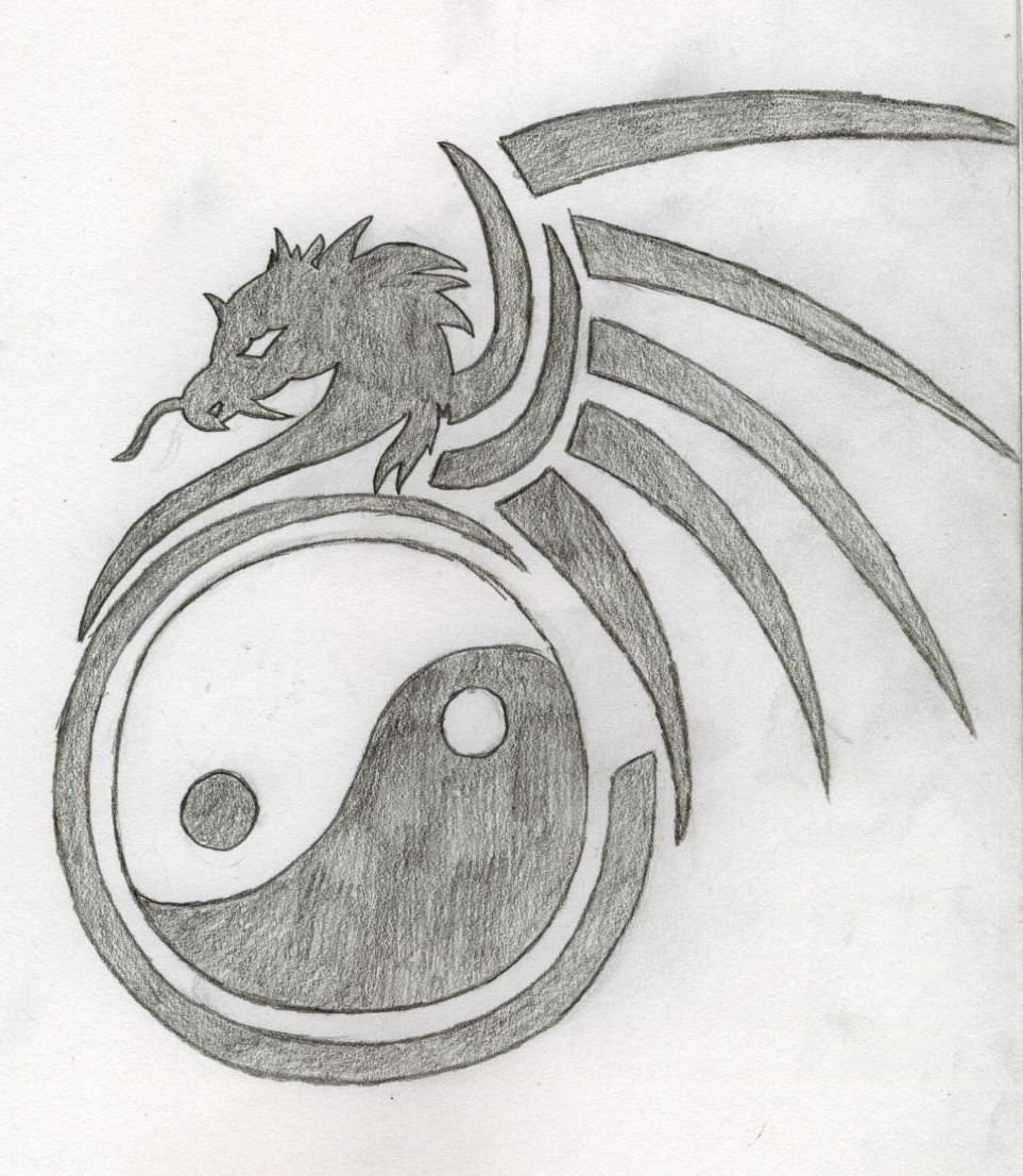 Dragon Drawings Yin And Yang Dragon Tattoo Drawing