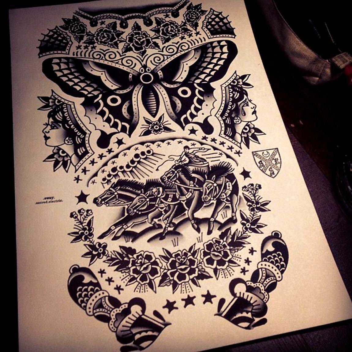tattoo flash traditional old school butterfly blackwork