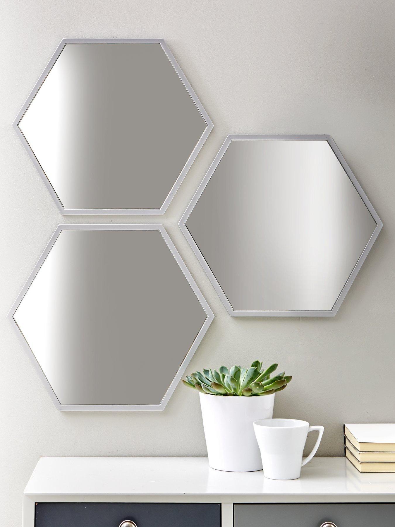 Set Of 3 Silver Hexagon Mirror Hexagon Mirror Hexagon Mirror