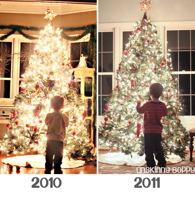 Christmas tree glow, year two. She gives her full tutorial on her website. & pics of kids growth each year idea