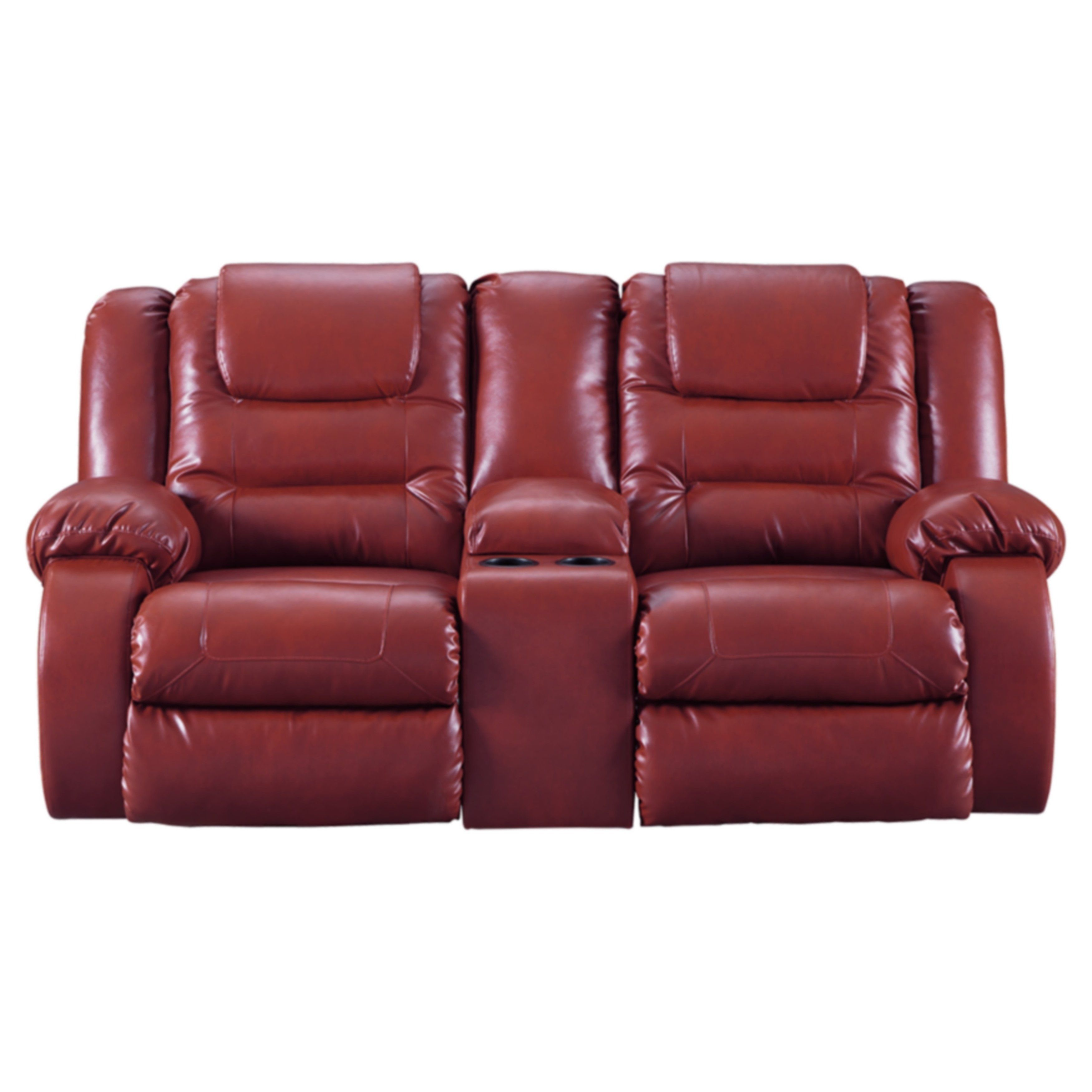 Signature Design By Ashley Salsa Vacherie Reclining Loveseat W Console Tight Back Assembled Round Arms Red Vacherie Recliner Leather Reclining Sofa