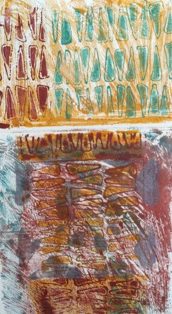 Example of texture, color and pattern. Encaustic monoprint.  Copyright 2016 Lisa JonesMoore