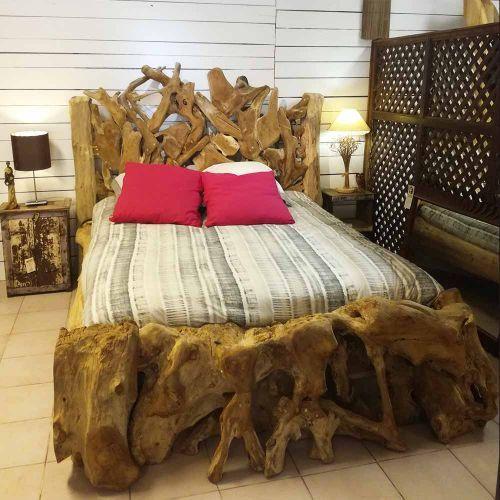 magnifique lit en racine de teck piece