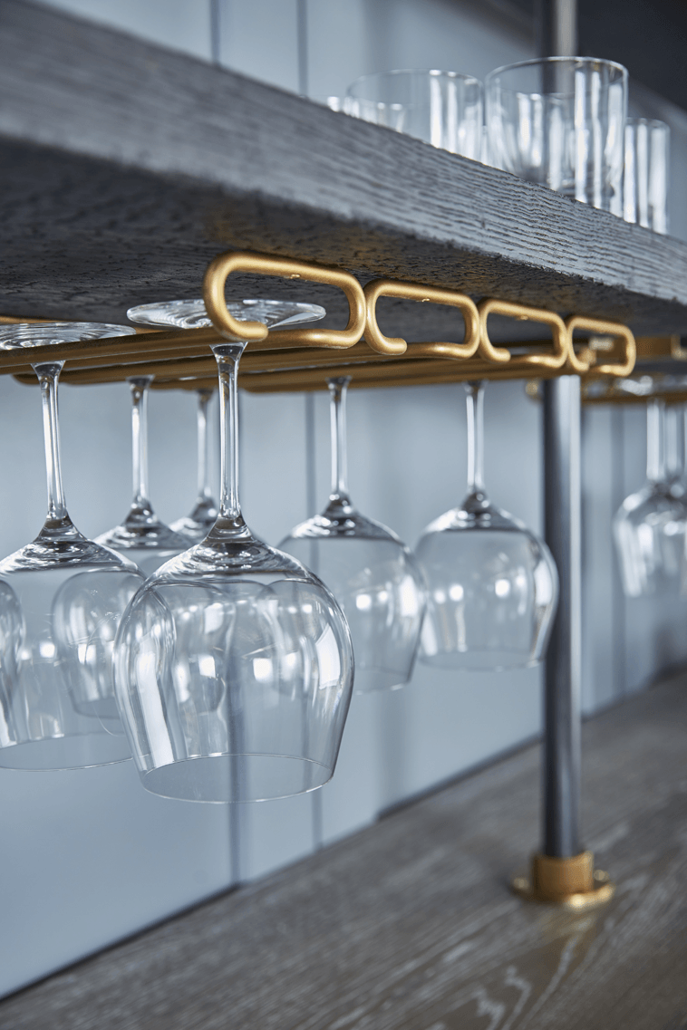 Wine Glass Holders In Oxidized Bronze Finish Amuneal Loft Shelving