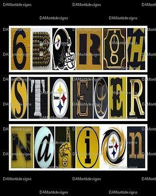 NFL Pittsburgh Steelers Framed Alphabet Photo Art Print