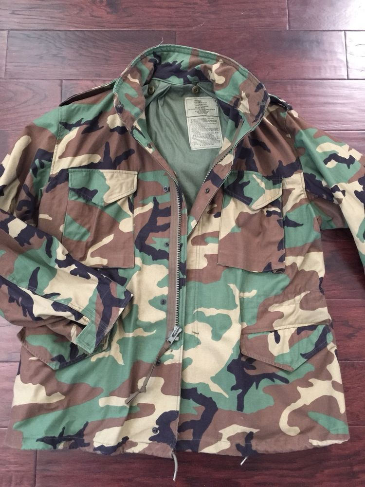 be333d56e291a Vintage M-65 Field Jacket WOODLAND CAMO USA Made Size Large Regular | eBay