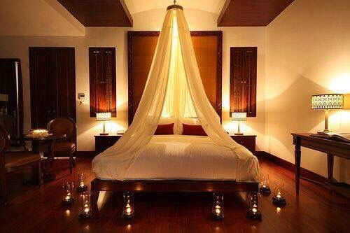 Romantic candlelit bedroom